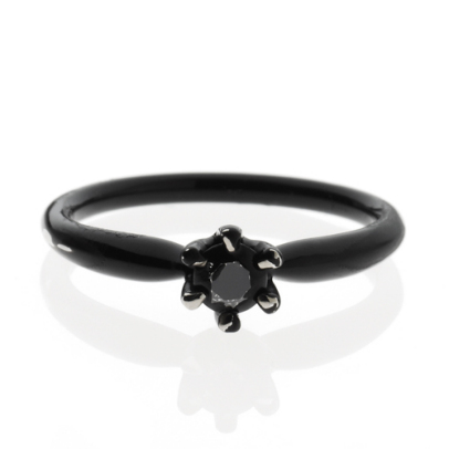 CINDERELLA ROUND ENGAGE RING -BLACK-