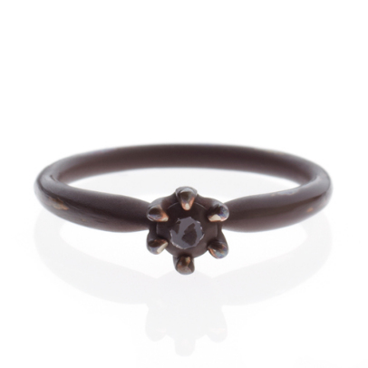 CINDERELLA ROUND ENGAGE RING -BROWN-