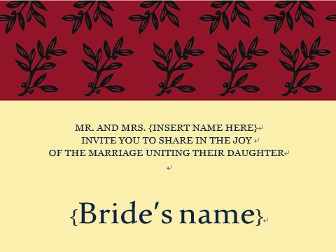 招待状:Olive Branch