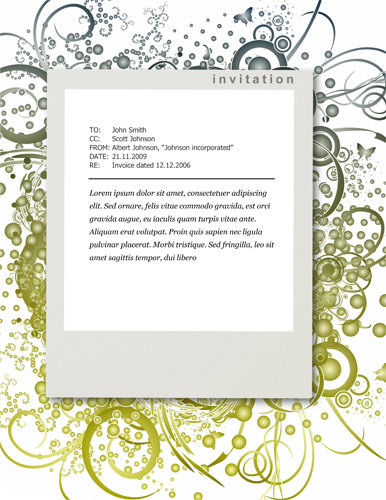 招待状:Green floral design