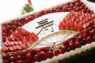 扇子のウエディングケーキ1