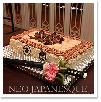 侍・日本刀のウエディングケーキ3