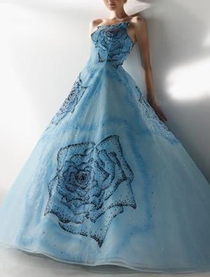 ブルーのウエディングドレス65