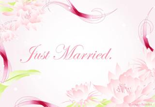 写真なし結婚報告ハガキ素材|花イラスト10