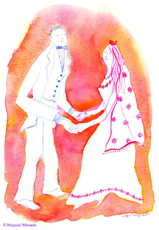 写真なし結婚報告ハガキ素材|新郎新婦イラスト13