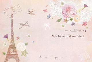 写真なし結婚報告ハガキ素材|花イラスト)21