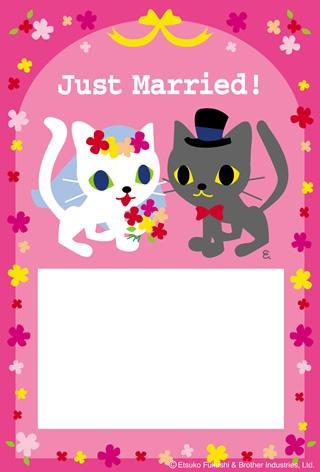 結婚報告ハガキ無料テンプレート|フォトフレーム(写真1枚)27