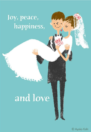 写真なし結婚報告ハガキ素材|新郎新婦イラスト4