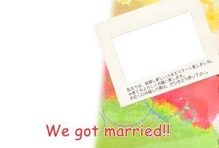 結婚報告ハガキ無料テンプレート|フォトフレーム+背景写真45
