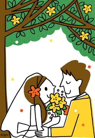 写真なし結婚報告ハガキ素材|新郎新婦イラスト6