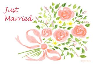 写真なし結婚報告ハガキ素材|花イラスト9