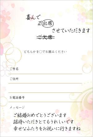 友人に送る結婚式招待状の返信メッセージ文例